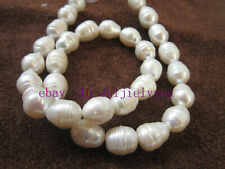 "perfect 10-11mm AAA+ Akoya white baroque pearl Loose Beads 13.5"" AAA"