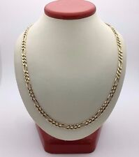 """New Solid Men's 14K Yellow Gold 23"""" Figaro Link Chain Necklace 18.1 grams 5 mm"""