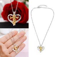 Geschenke Halskette mit Kreuz Form des Herzens Jesus Anhänger Silberne Kette