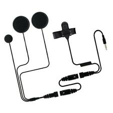Full Face Motorcycle Motorbike Headset Earpiece Boom Mic Microphone Black