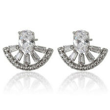 White Gold Filled Clear Swarovski® Element Crystals Cluster Stud Earrings UK 349