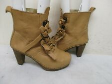 SANITA Tan Leather Danish Buckle Straps High Heel Ankle Boots Womens Size 39 EUR