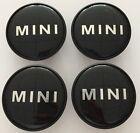 4 X mini ROUE capuchons AXE DE alliage MOYEU badge emblème NOIR LOGO 54mm Cooper