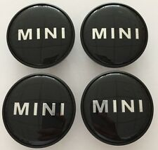 4 X MINI WHEEL CENTRE CAPS ALLOY HUB BADGE EMBLEM BLACK LOGO 54mm COOPER ONE