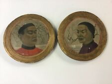 Antique Chinese Paintings On Thick Wood Circles
