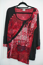 Designer TS Black, red long sleeved top - XS