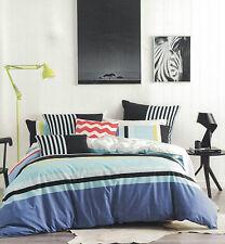 MOD BY LINEN HOUSE EAMON BLUE/AQUA/YELLOW/BLACK STRIPES QUILT COVER SET KING NEW