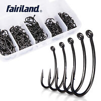 250pcs/lot Fishing Hooks High Carbon Stainless Steel Mixed Sizes Coated Fishhook