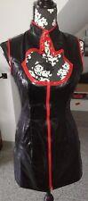Gothic Kleid Schwarz Rot Stehkragen Lack Leg Avenue