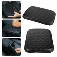 Universal Car SUV Armrest Pad Cover Auto Center Console PU Leather Cushion Black