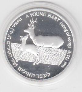 Israel  2 New Sheqalim  1993  Hirsche  Silber  PP