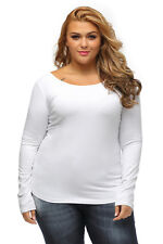 White Long Sleeve Plus Size Criss Cross Back Top T-Shirt Size 12-14 14-16 16-18