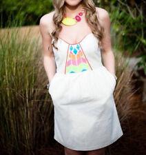 Judith March Womens Dress Size S Beige Neon Orange Linen Geo Print Beach Pockets