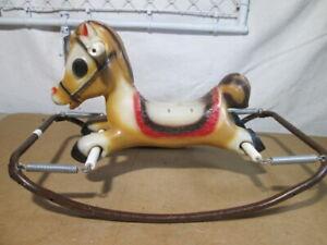 Vintage 1970s Remco American Wilkes Barre Plastic Toddler Bouncy Rocking Horse