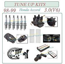 Tune Up Kit 98-99 Honda  Accord 3.0 V6: Spark Plug Filters Cap Rotor Wireset PCV