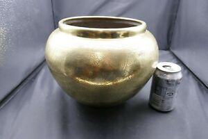 Vintage Large Polished Brass Planter Pot Indoor Flower tub Etched Detail 1990s