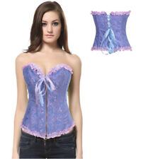 REDUCED Blue & Pink Damask Boned Corset & Thong Bustier Zip Front Size 12-14