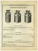 1899 PAPER AD Railroad Milk Can Cans Illinois Carrying HSB & Co Iowa Elgin