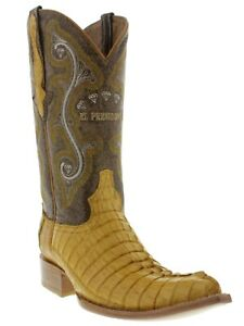 Mens Real Buttercup Crocodile Western Cowboy Leather Pointed Toe Boots
