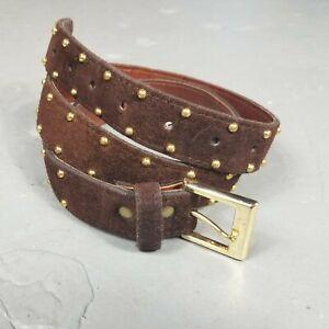 Vintage 70s/80s Brown Suede Studded Belt Womens L 32 western boho