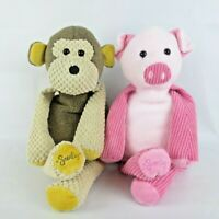 """Scentsy Buddy Mollie the Monkey & Penny the Pig Pink 16""""  Plush Unscented  Lot"""