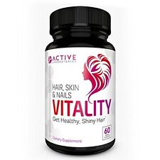 Vitality All Natural Hair Growth Formula Supplement - For All Hair Types - Made