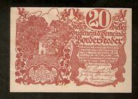 Austria Gutscheind. Gemeinde VORDERSTODER 20 heller 1920 Austrian Notgeld