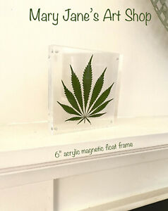 Real Marijuana Leaf Pressed Art in Clear Acrylic Float Picture Frame Home Decor