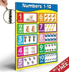 NUMBERS CHART 1-10 POSTER *Kids Children A4 Educational Wall Chart Cute Animals
