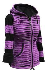 Fleece Lined Womens Emo Gothic Torn Rip Jacket Hippie Boho Zipped Jumper