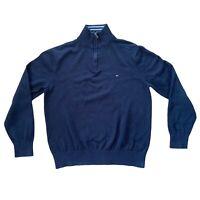 "Tommy Hilfiger Mens Jumper Pullover Sweatshirt Black 1/4 Zip L Large 21"" Sweater"