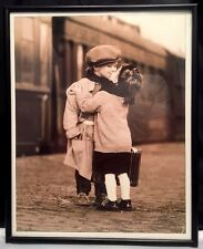 Antique Photo Little Girl & Boy Dressed As Adults Kissing~ Framed! 9-3/4 x 12