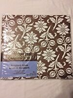 NEW BROWN & WHITE FLORAL Recollections Scrapbook  Post-bound/Expandable 12 x 12