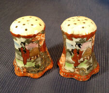 Nippon Satsuma Salt And Pepper Shakers - Hand Painted With Raised Moriage- Japan