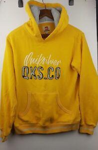 Quicksilver Kid's Yellow Hoodies Sweatshirt Pullover Jumper Logo Size 14 Years