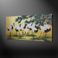 RED CROWNED CHINESE CRANES CANVAS PICTURE PRINT WALL ART ORIENTAL HOME DECOR