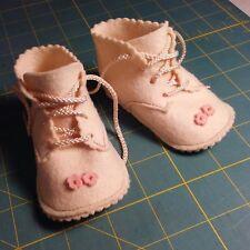 Vintage 1950's Cream Felt Baby Shoes