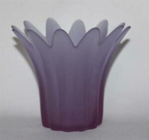 PartyLite HEATHER Graduated Purple Frosted Flare Top Candle Holder NIB DISC