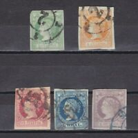SPAIN 1860, Sc #49-54, CV $56, Part set, Used