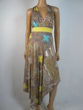 $169 Antonio Melani Sateen Vneck Asymmetric Lime Sand Lourdes Dress 10 NWT A864