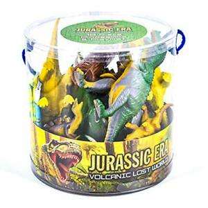 Large Tub of Dinosaurs Plastic Animals 18 pc Set T Rex Stegosaurus Toy Gift Xmas
