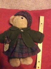 """Boyds Kristen T Oakley Bear 10"""" Plush In Dress Coat Hat and Acorn Purse #904003"""