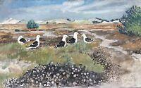 Impressionist Karl Adser 1912-1995 Dünenlandschaft mit Möwen - Am Meer 55 x 89