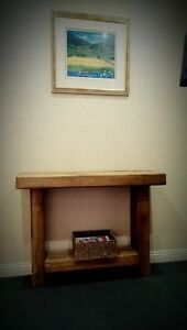 HANDMADE CHUNKY NATURAL RUSTIC SOLID WOOD OAK SIDEBOARD UNIT CONSOLE TABLE