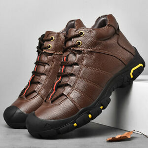 Mens Hiking Ankle Boots Casual Lace Up Trainers Shoes Outdoor Black Brown Size
