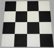 BLACK & WHITE CHECK PVC INTERLOCK TILES /GARAGE FLOORING /RUMPUS/GYM/ALL PURPOSE