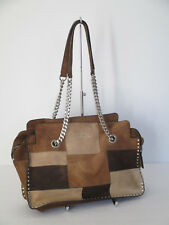 Michael Kors Astor Patchwork Suede Chain Large Tote Shoulder Handbag Purse