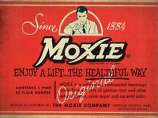 SINCE 1884 MOXIE SODA POP DRINK LABEL HEAVY DUTY USA MADE METAL ADVERTISING SIGN