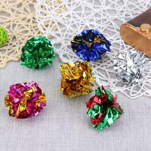 12pcs Colorful Ball Sound Tin Paper Toy Cat Crinkle Balls Playing Pets Toys
