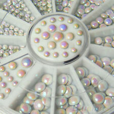 1000p x Sleek 3 Size White Multicolor Rivets Nail Art Decoration Rhinestone B9CU
